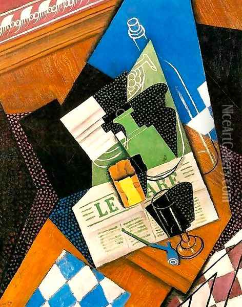 Waterbottle fruitdish 1915 Oil Painting - Juan Gris