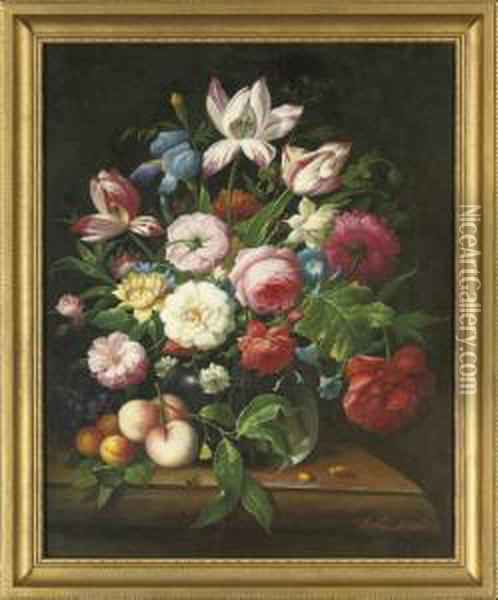 Roses, Camellia, Iris, Parrot  Tulips And Morning Glory In A Glass Vase, With Peaches, Apricots And  Grapes To The Side, On A Stone Ledge; And Camellias, Roses, Lilac,  Narcissus And Parrot Tulips In A Glass Vase, With Grapes And Plums To  The Side, O Oil Painting - Thomas Webster