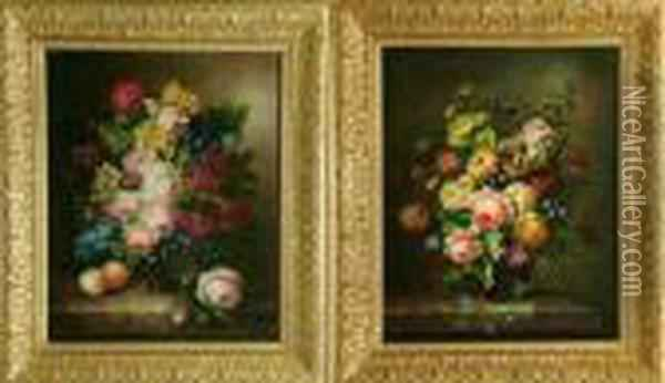 Sprays Of Flowers Arranged In Glass Vases Oil Painting - Thomas Webster