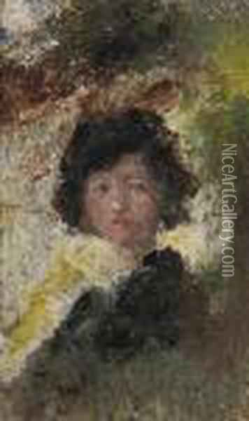 Study Of A Lady Oil Painting - William Page Atkinson Wells