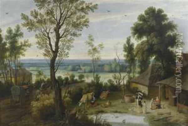 Landscape With An Elegant Lady Visiting A Farmyard. Oil Painting - Jan Wildens