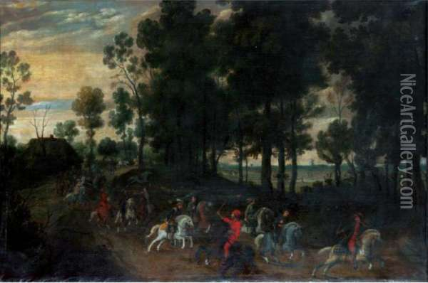 Landscape With Horsemen Oil Painting - Jan Wildens