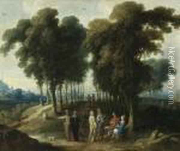Landscape With Figures. Oil Painting - Jan Wildens