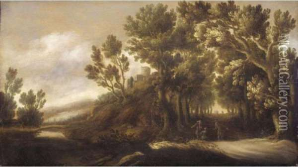 A Wooded River Landscape With Figures Conversing Beside A Track In The Foreground Oil Painting - Jan Wildens