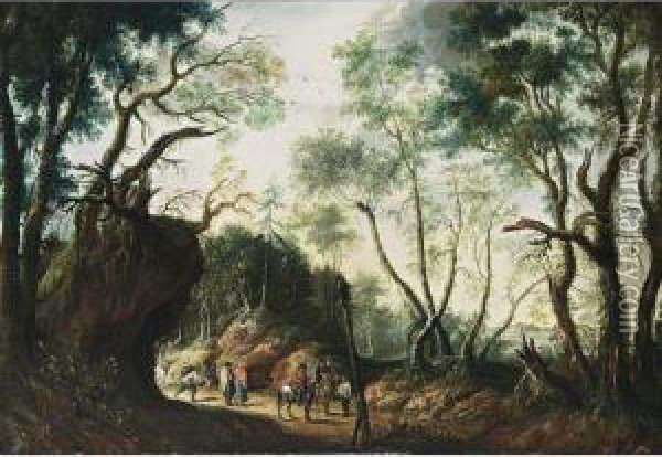 A Wooded Landscape With Horsemen And Travellers On A Path Oil Painting - Jan Wildens