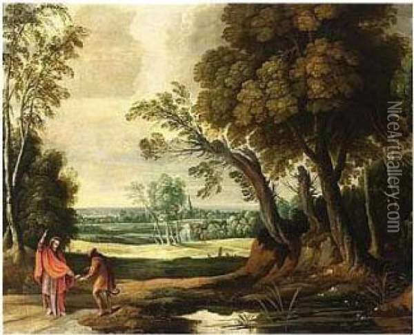 A Wooded Landscape With The Temptation Of Christ Oil Painting - Jan Wildens