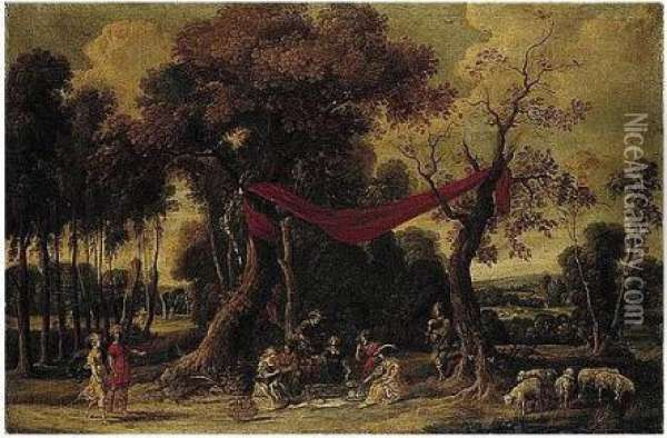Elegant Figures Feasting In A Wooded Landscape Oil Painting - Jan Wildens