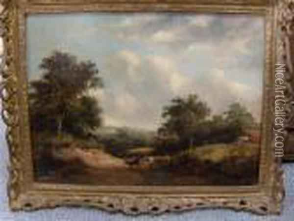 Cattle With Drover In Landscape Oil Painting - Edward Jr Williams