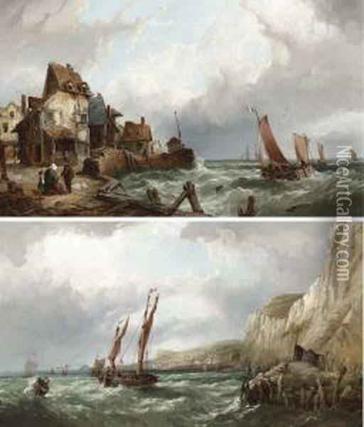 Fishing Off The South Coast And Shipping Off Normandy Oil Painting - John James Wilson