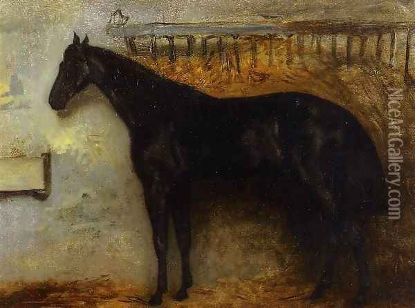 Black Horse in a Stable Oil Painting - Theodore Gericault