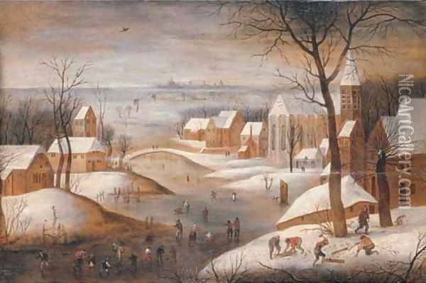 A wooded winter river landscape with a town, skaters and woodchoppers, another town beyond Oil Painting - Abel Grimmer