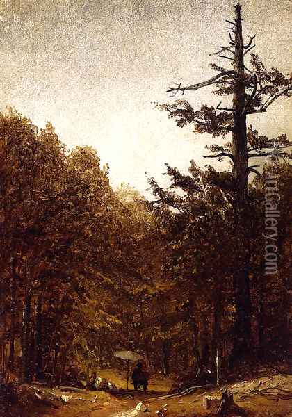 A Forest Road Oil Painting - Sanford Robinson Gifford