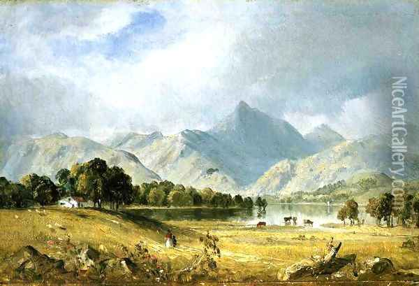 A Sketch of Derwentwater Oil Painting - Sanford Robinson Gifford