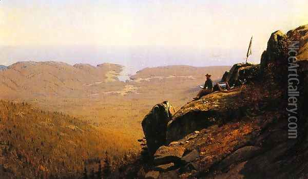 The Artist Sketching at Mount Desert, Maine Oil Painting - Sanford Robinson Gifford