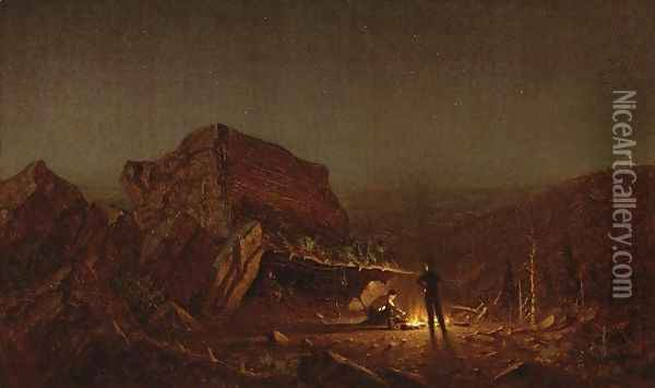 Camping for the Night on Mansfield Mountain Oil Painting - Sanford Robinson Gifford