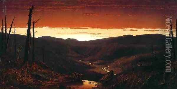 A Twilight in the Catskills Oil Painting - Sanford Robinson Gifford