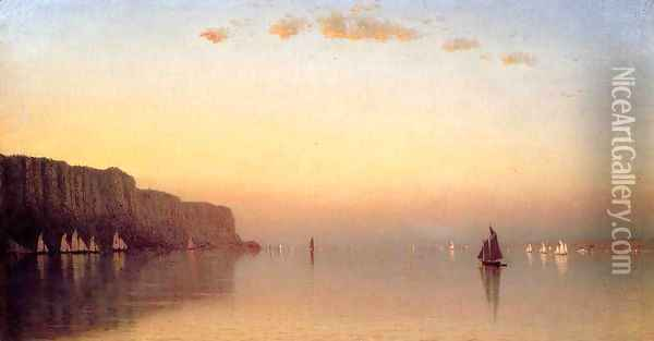 Sunset over the Palisades on the Hudson Oil Painting - Sanford Robinson Gifford