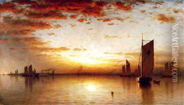 A Sunset, Bay of New York Oil Painting - Sanford Robinson Gifford