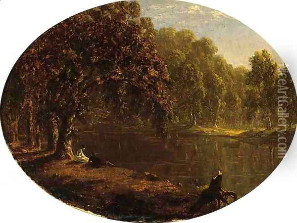 The River-Bank Oil Painting - Sanford Robinson Gifford
