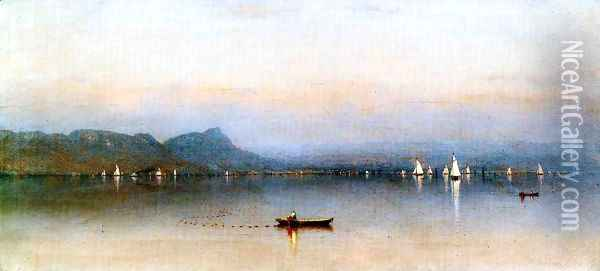 Morning on the Hudson, Haverstraw Bay Oil Painting - Sanford Robinson Gifford