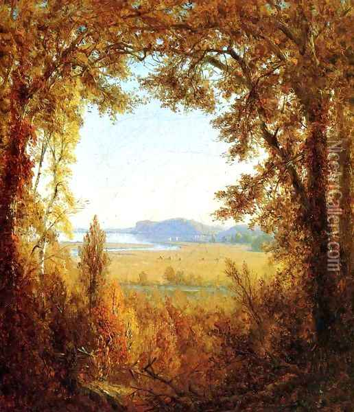 Hook Mountain on the Hudson River Oil Painting - Sanford Robinson Gifford