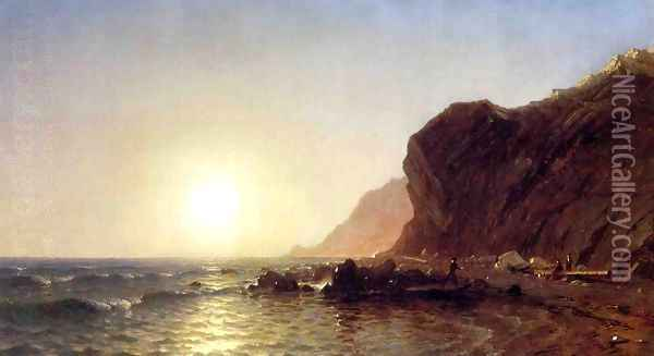 Sunset on the Shore of No Man's Land - Bass Fishing Oil Painting - Sanford Robinson Gifford