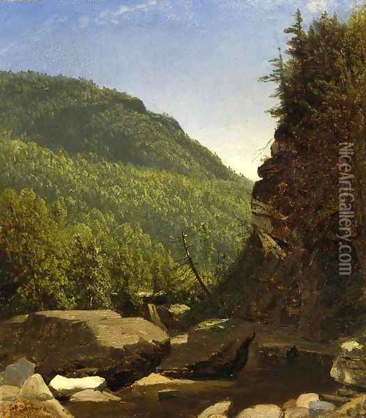 The Top of Kauterskill Falls Oil Painting - Sanford Robinson Gifford