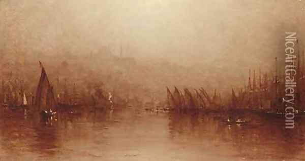 A Sketch of the Golden Horn, Constantinople Oil Painting - Sanford Robinson Gifford