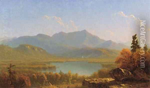 Mote Mountain from Echo Lake, New Hampshire Oil Painting - Sanford Robinson Gifford