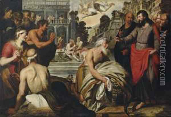 Christ At The Pool Of Bethesda Oil Painting - Artus Wollfort