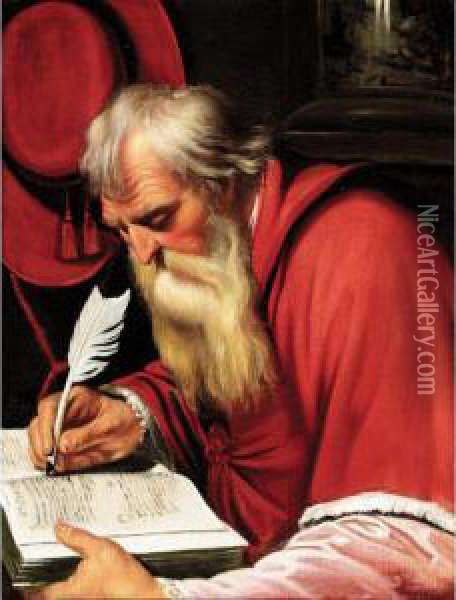 Saint Jerome In His Study Oil Painting - Artus Wollfort