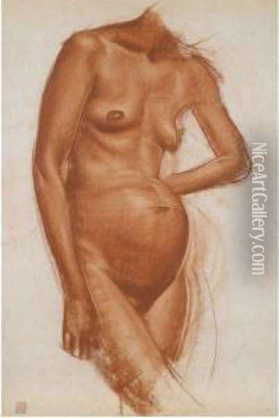 Three Drawings Of Nudes Oil Painting - Aleksandr Evgen'evich Iakovlev