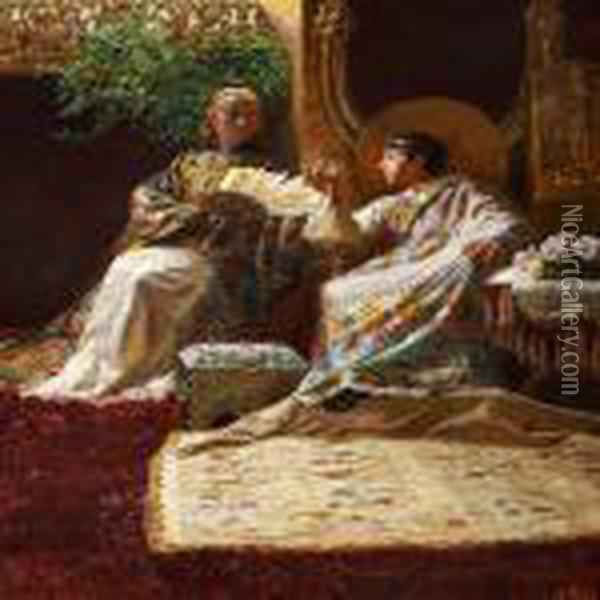 King Salomo And The Queen Of Sheba Oil Painting - Kristian Zahrtmann