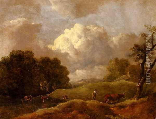 An Extensive Landscape With Cattle And A Drover Oil Painting - Thomas Gainsborough