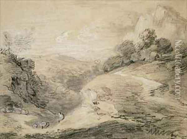 A Hilly Landscape with Shepherd and Sheep Oil Painting - Thomas Gainsborough