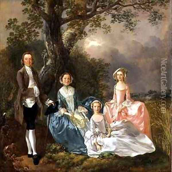 Mr and Mrs John Gravenor and their Daughters Elizabeth and Ann Oil Painting - Thomas Gainsborough