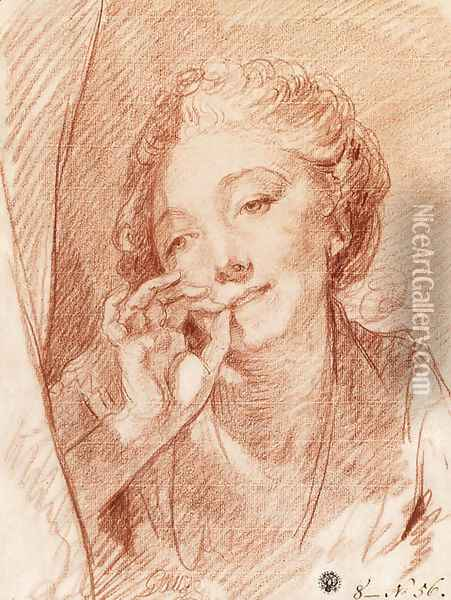 A young woman appearing behind a curtain, her hand at her mouth Oil Painting - Jean Baptiste Greuze