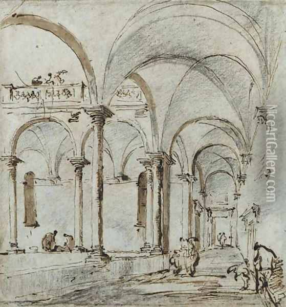 Porticoes in a courtyard, with two figures Oil Painting - Francesco Guardi