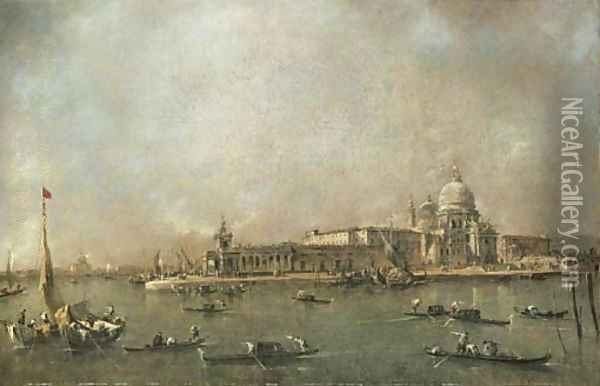 The Entrance to the Grand Canal, Venice, looking towards the Dogana and Santa Maria della Salute from the Riva del Grano, the Giudecca and the Redento Oil Painting - Francesco Guardi