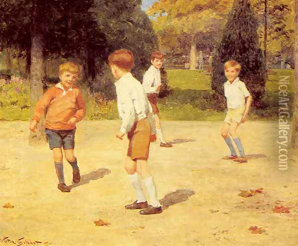 Boys Playing Oil Painting - Victor-Gabriel Gilbert