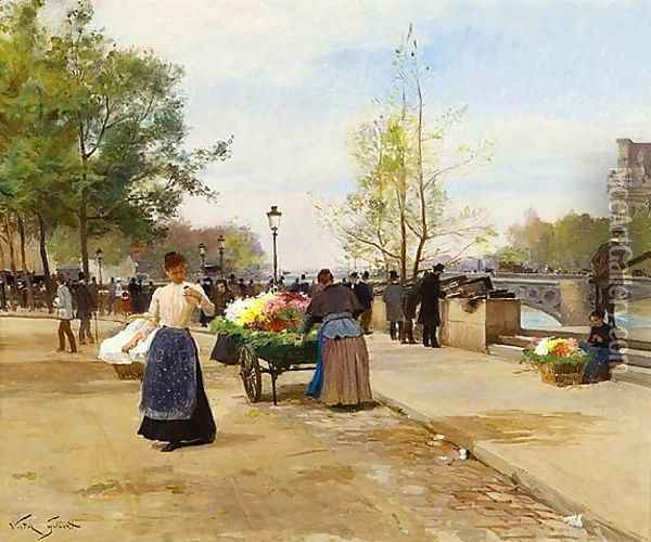 The Flower Sellers by the Pont du Louvre Oil Painting - Victor-Gabriel Gilbert