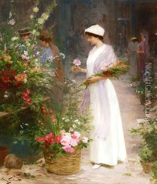 Picking Flowers Oil Painting - Victor-Gabriel Gilbert