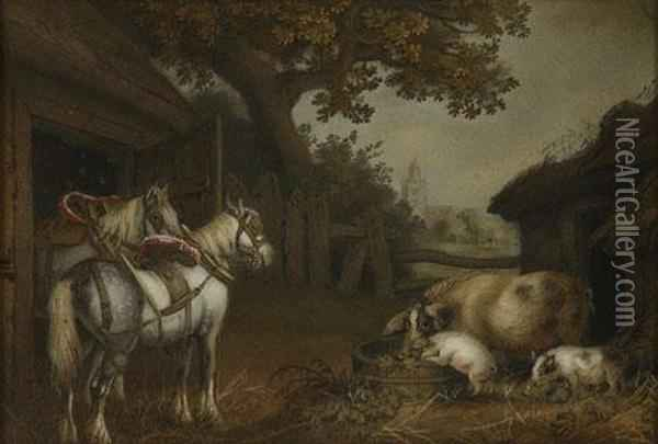 Two Horses And Three Pigs In A Farmyard Oil Painting - Benjamin Zobel