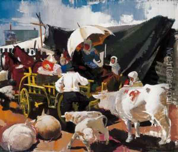 Market - Place Oil Painting - Vilmos Aba-Novak