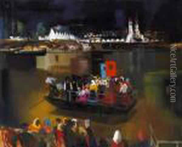 Ferry Crossing Over The River Tisza Oil Painting - Vilmos Aba-Novak