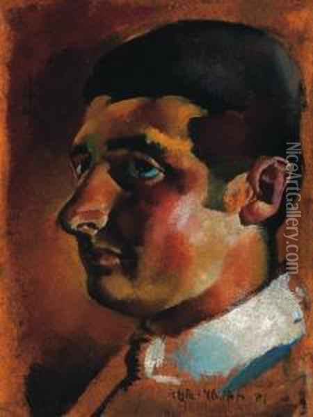 Man With White Collars Oil Painting - Vilmos Aba-Novak