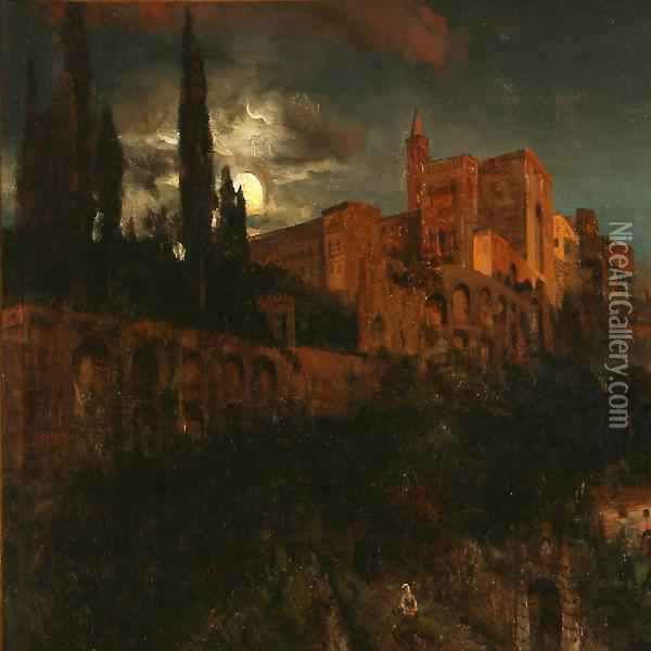 Moonlight Over A Southern Castle Oil Painting - Andreas Achenbach