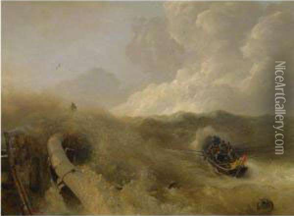 Mole Im Sturm (breakwater In A Storm) Oil Painting - Andreas Achenbach