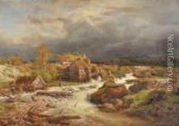 Torrent Anime Oil Painting - Andreas Achenbach