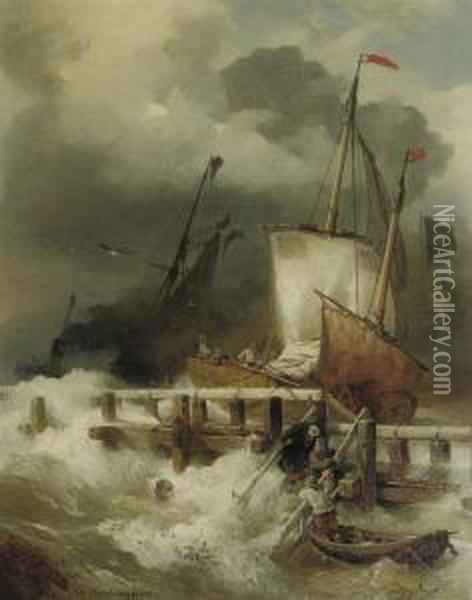 Entering The Harbour During A Storm Oil Painting - Andreas Achenbach